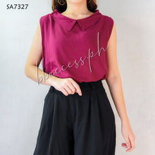 Load image into Gallery viewer, Plain Sleeveless Collar Top