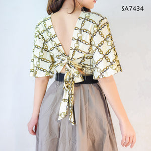 Tie Back Overlap Printed Butterfly Crop Top