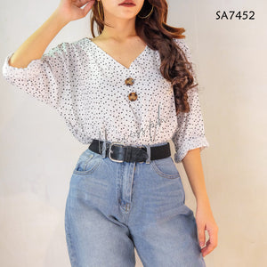 Big Size Printed Button Detail Top