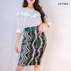 Pencil Cut Printed Skirt
