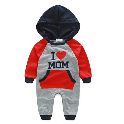 Spring Autumn Baby Clothes I Love Dad Mom Baby Rompers Hooded Embroidery Long Sleeve Jumpsuit Girls Boys Clothing