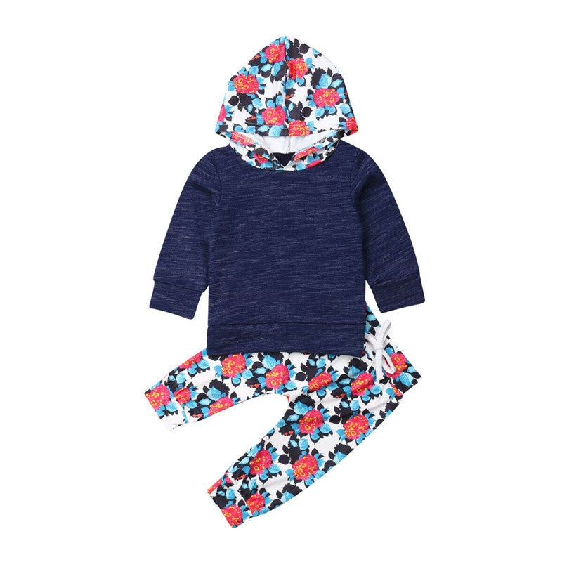 Kids Hooded Tops + Lace-up Pant Outfit Set