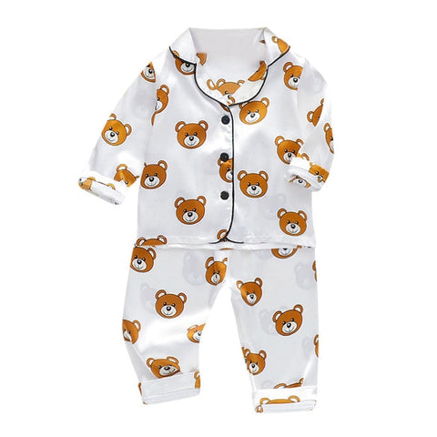 Children's Cartoon Printed Sweatshirt + Pant Sleepwear Set