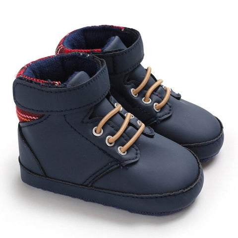 Toddler Baby Leather Plaid Anti-Slip Boots