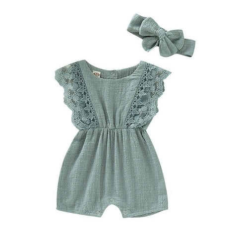 Baby Girls Romper + Headband Clothing Set