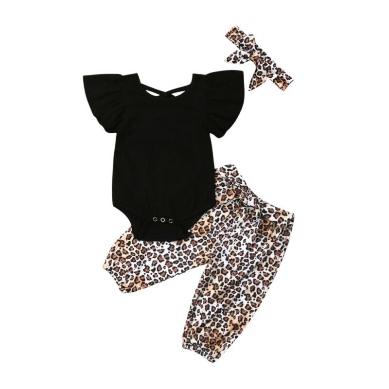 3PCS Baby Girl's Leopard Print Clothing Set