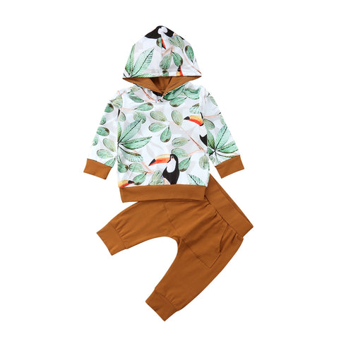 Infant leaves & Birds Printed Hooded Top + Harem Pant Outfit Set