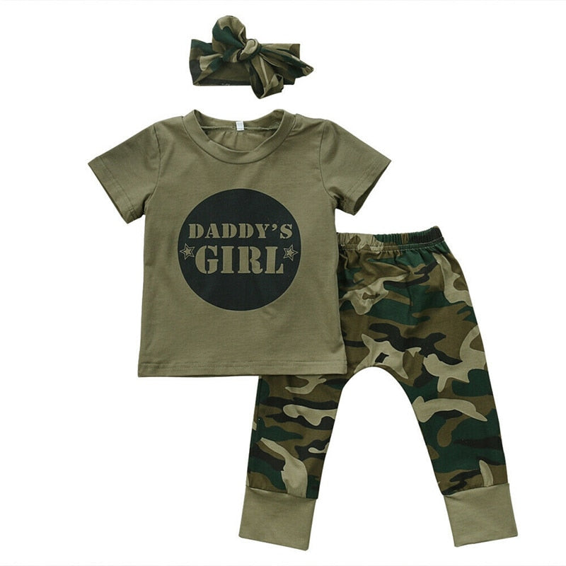 DADDY'S BOY/GIRL Top + Pant + Headband 3pcs Clothing Set