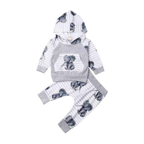 Newborn Baby Elephant Print Hoodie Top + Long Pant Outfit Set