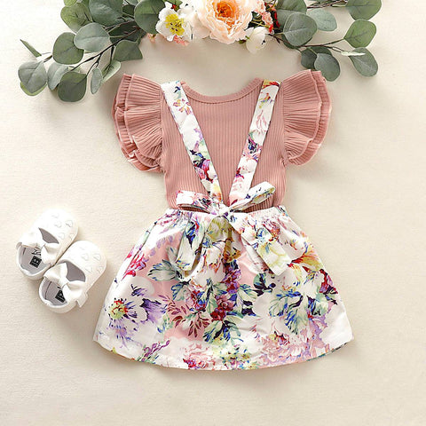 Floral-Print Infant Baby Girls 2Pcs Outfits Set