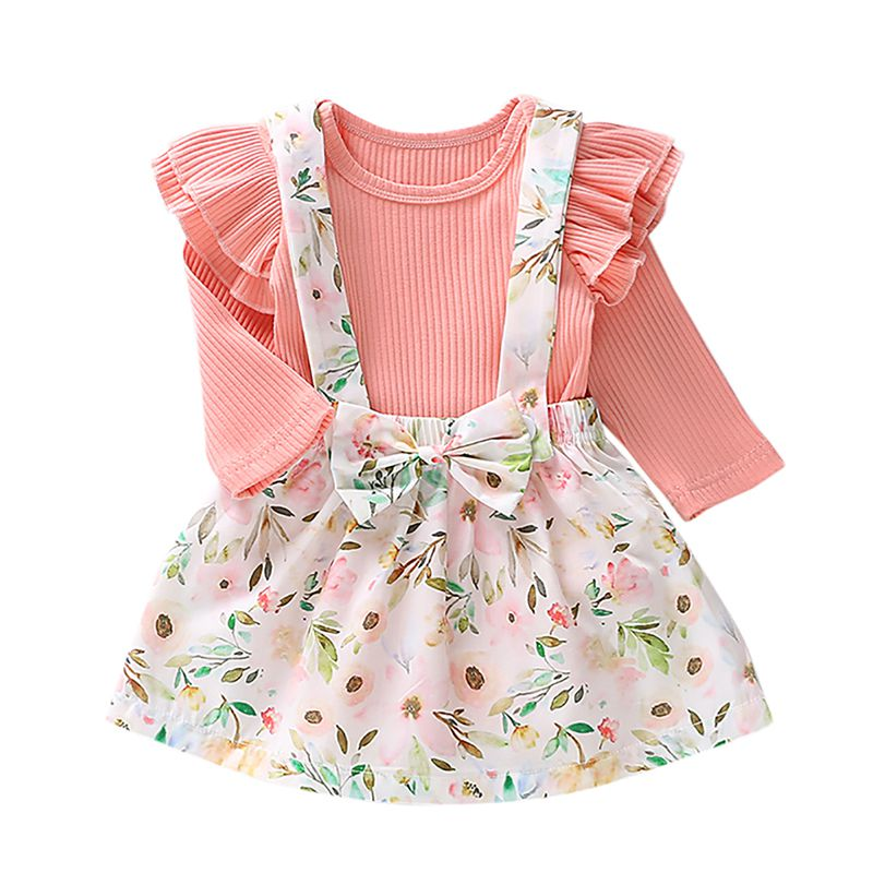Baby Girls Long Sleeve Romper Top + Tutu Skirt Outfit