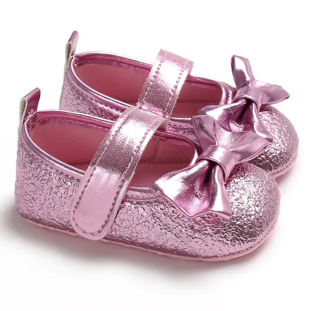 Newborn Baby Girl Solid Non-slip Bowknot Shoes