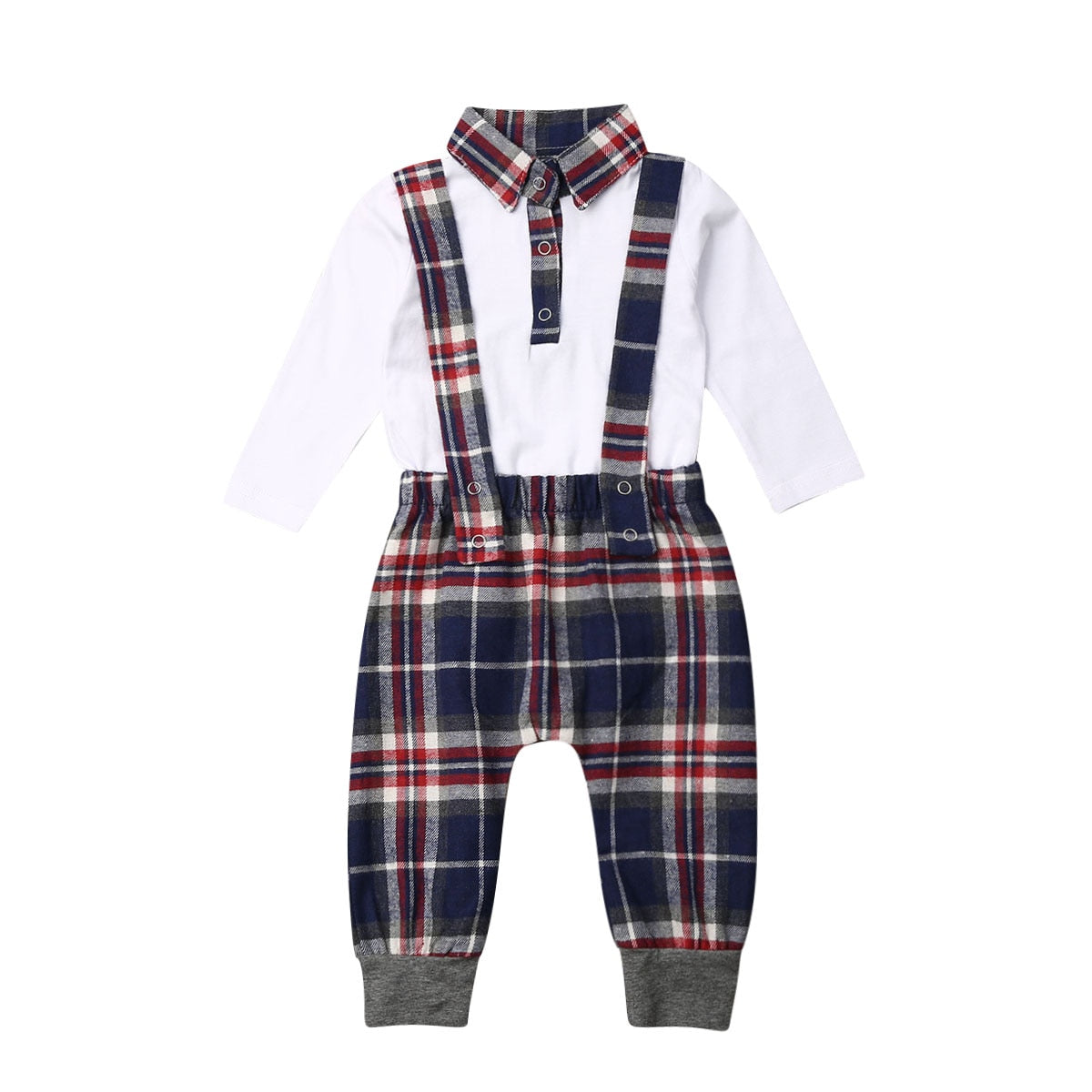 2pcs Baby Boys Romper + Bib Pant Plaid Outfit Set