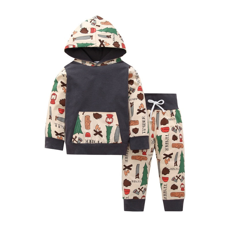 Infant Cartoon Printed Hoodie + Pant Clothing Set