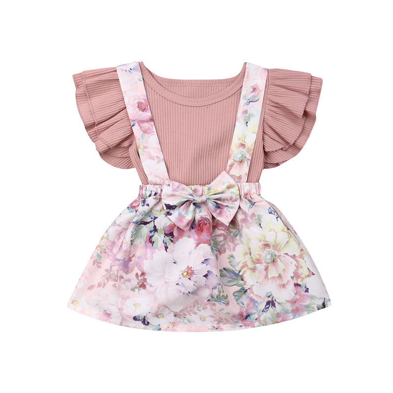 2Pcs Infant Baby Girls Floral Print Outfits Set