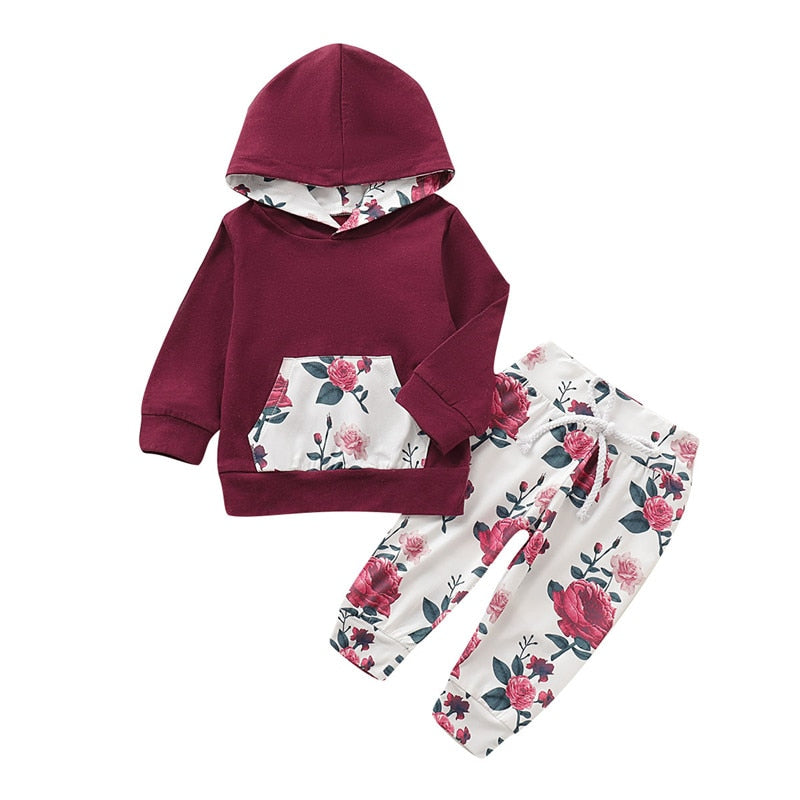 Newborn Baby Girls Floral Print Hoodie Sweatshirt + Pant Clothes Set