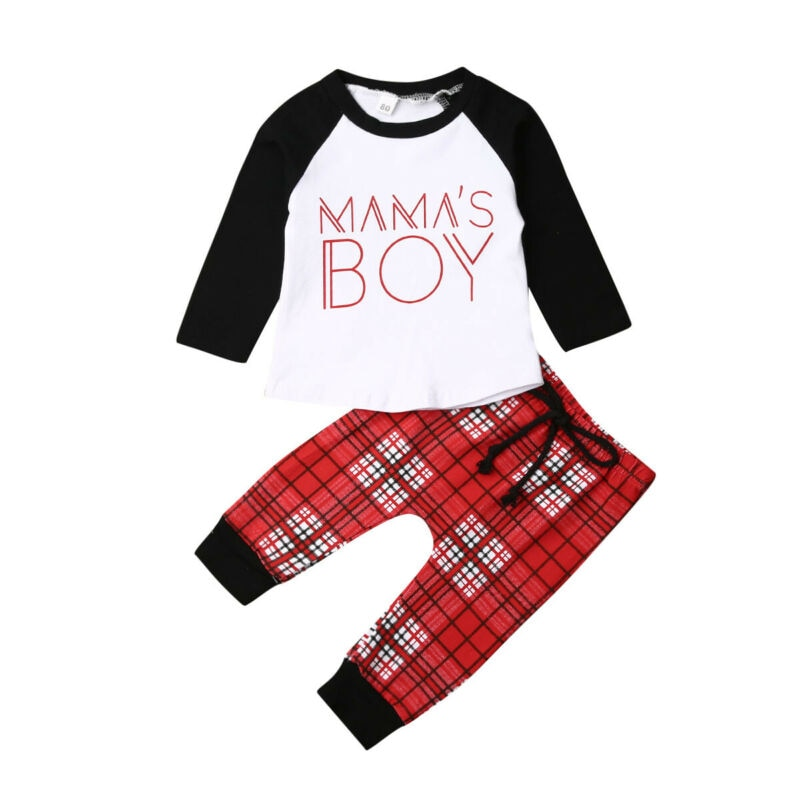 Mama's Boy Letter Printed Shirt & Pant Set