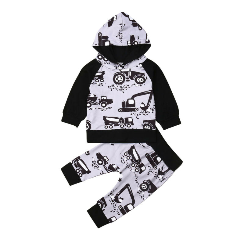 Active Toddler Baby Boy Girl Outfits Autumn Cotton Clothes Car Print Hoodies+Pants 2Pcs Baby Cotton Sets Tracksuit 0-24M
