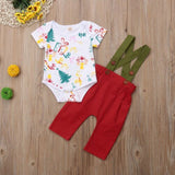 Toddler Baby Boy Girl Clothing Bodysuit Top Suspender Trousers Cute 2pcs Cotton Clothes Outfit Baby Boys 0-18M