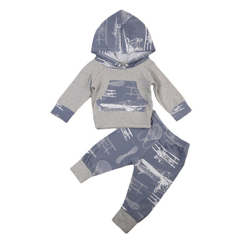 Autumn Baby Boy Girl Clothes Sets Hooded Sweatshirts Shirt Top Long Sleeve Pants Cotton Clothing 2pcs Outfits Baby Boys Set