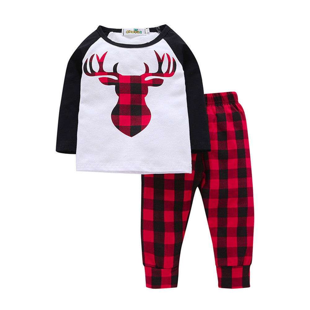 Long Sleeve Deer Plaid Printed T-shirt + Pants Set