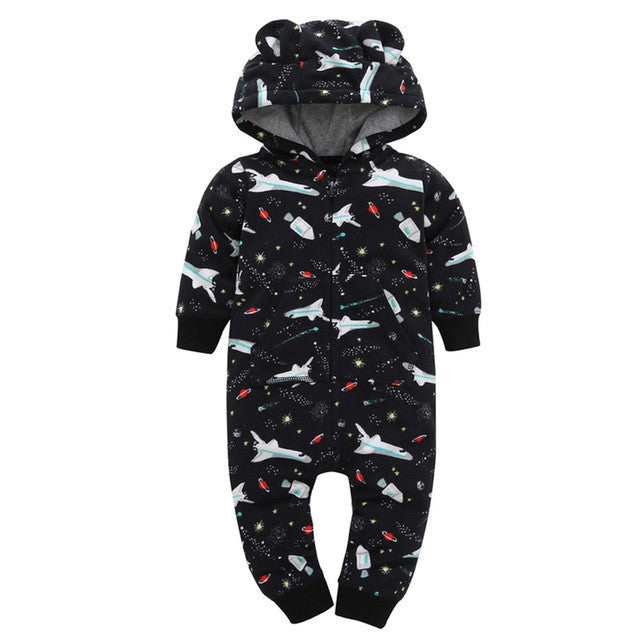 Hooded Fleece Winter Romper Onesie