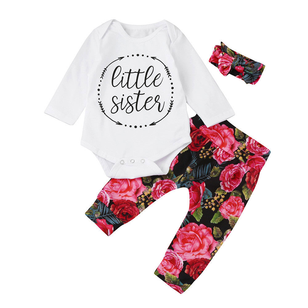 Baby Girls Tops + Floral Pants + Headband 3Pcs Outfits Set