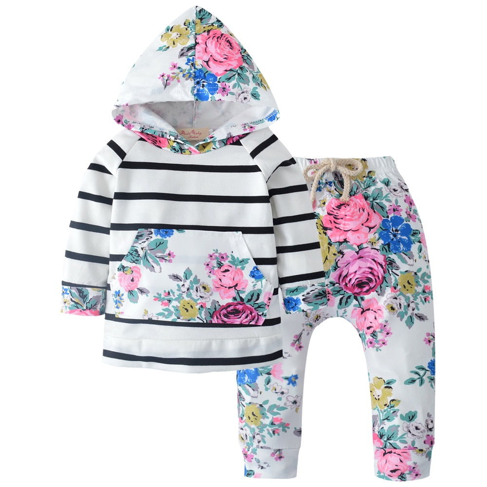 2pcs Newborn Baby Girl Floral Hooded Tops Pant Clothes Set