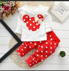 2pcs Mickey Mouse Printed Baby Girl's T-shirt + Pant Set