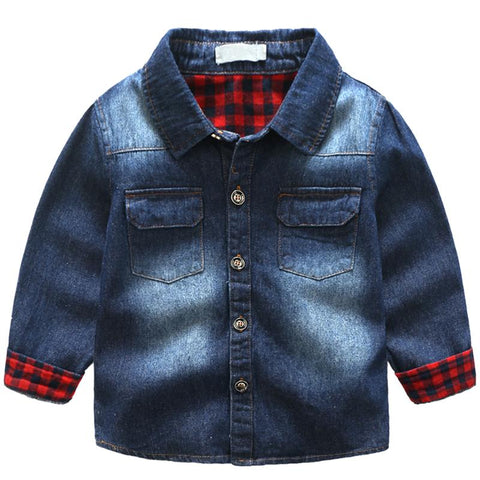 Baby Boys Girls Denim Jackets Coats Turn-down Collar Casual Shirts Sleeve Denim Fashion Children Outwear Coat Kids Denim Jacket