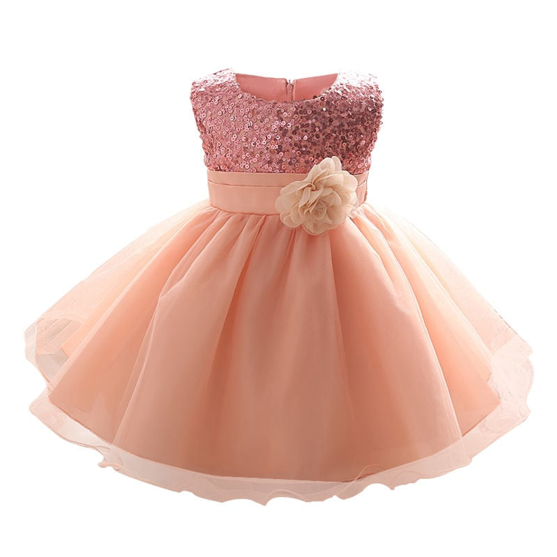 Baby Girl Glittery Flowery Bow Gown Dress