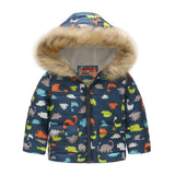 Boys Winter Coats Windbreaker Kids Jackets Baby Boys Clothes Fur Hooded Thick Warm Boy Jacket with Fleece Children Outerwear