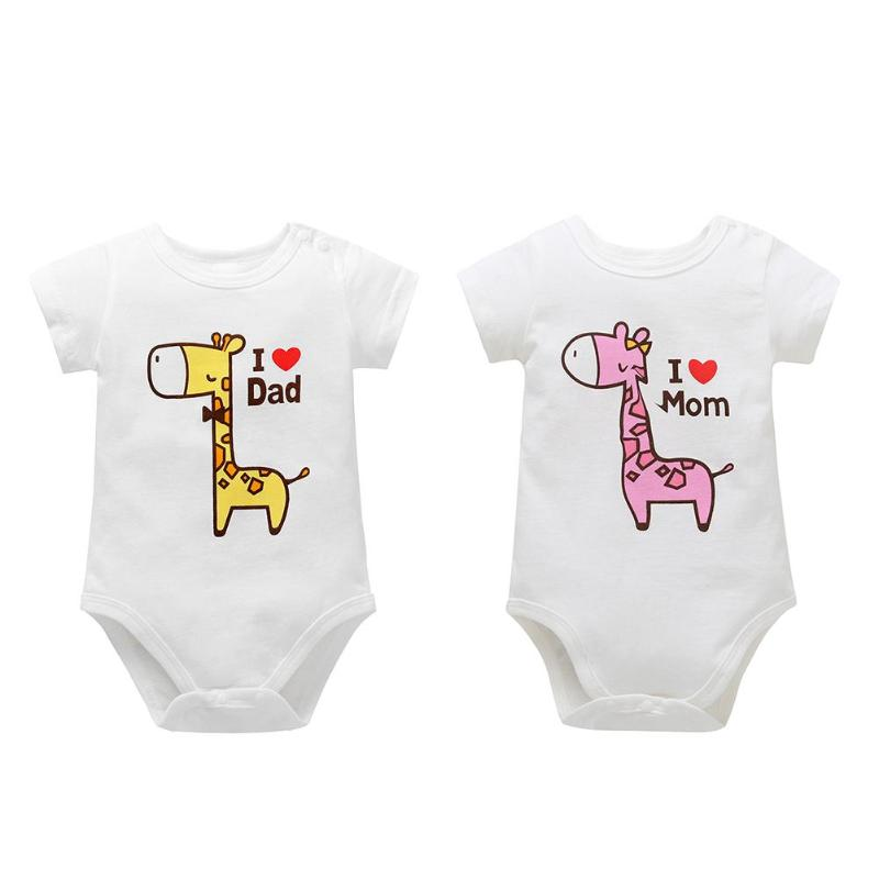 Hot Sale Spring Summer Autumn Unisex Baby Giraffe Letters Print Soft Short Sleeve O-Neck Romper Casual Comfortable Baby Cloth