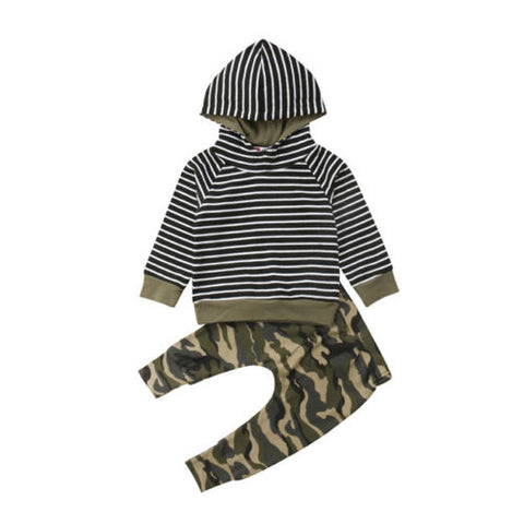 Striped Camo Hooded Sweat Suit