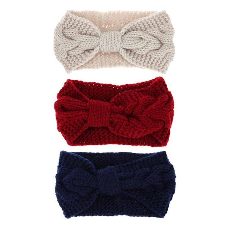 Women Girls Autumn Winter Twist Crochet Head Wrap Headband Warm Knit Bow Hair Band Fashion Girl Party Headwear Hair Accessories