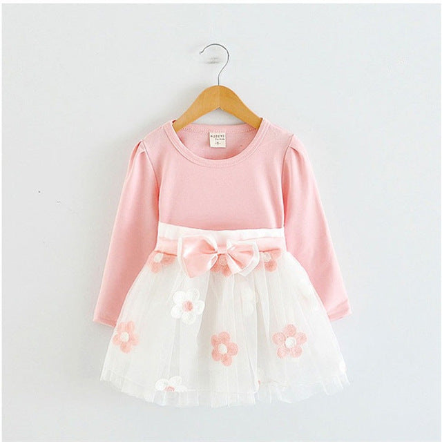 Girl's Cute Flowers Long Sleeve Dress