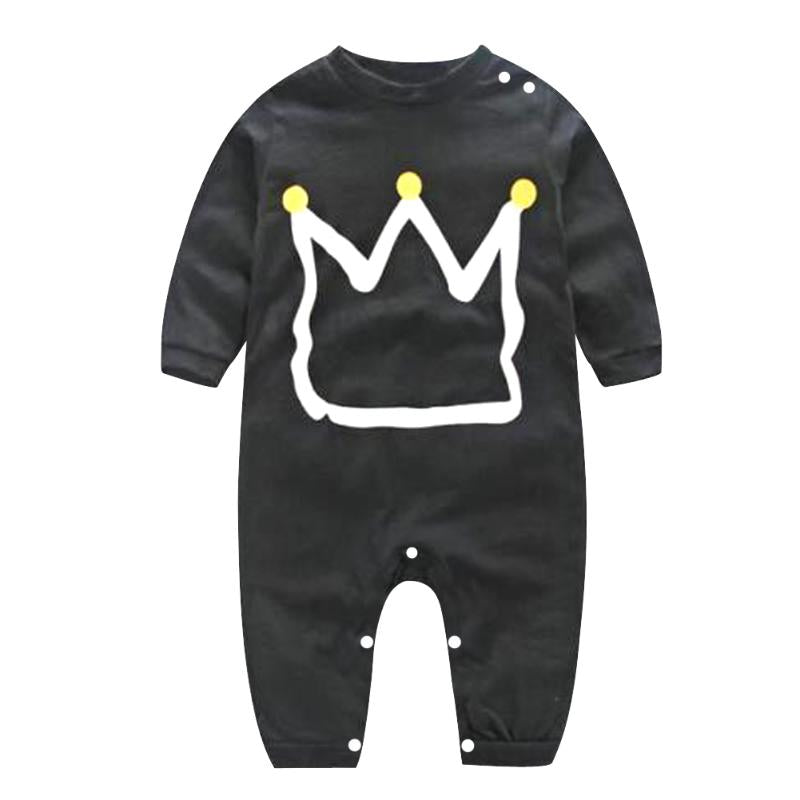 Infant Crown Printed Cotton Jumpsuit
