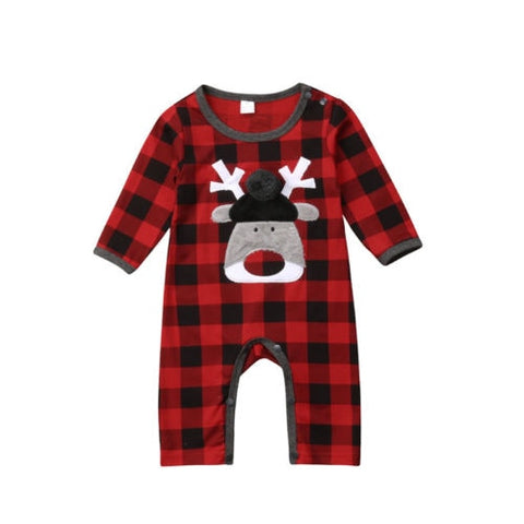 Baby Boys Cute Animals Romper Long Sleeve Cotton Plaid Jumpsuit Outfits Clothing Christmas Newborn Baby Girl Boy Clothes 0-18M