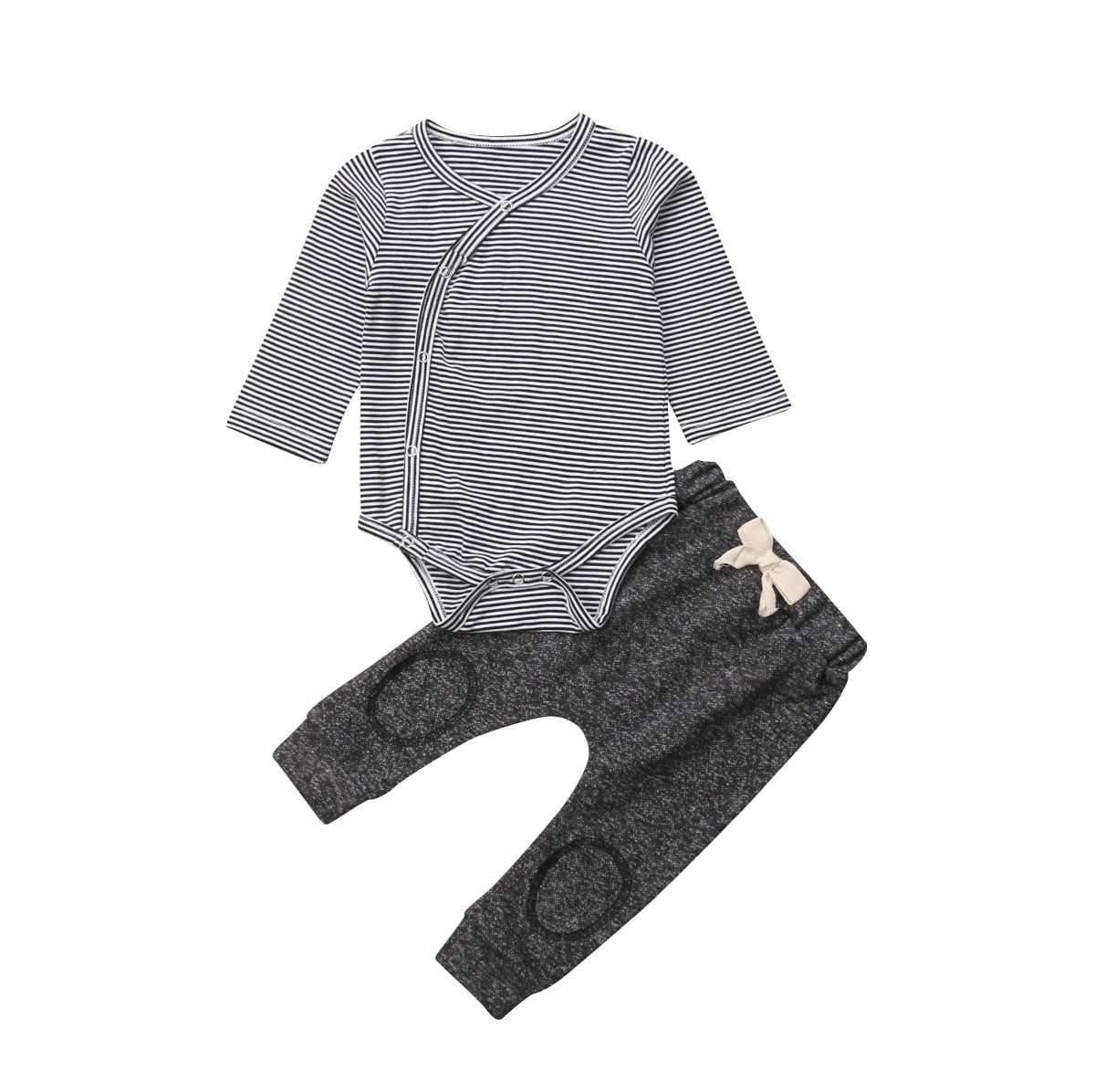 Newborn Kids Baby Boys Clothing Tops Romper Stripe Long Sleeve Pants Cotton Casual Striped 2Pcs Set Clothes Sets Baby Boys 0-24M