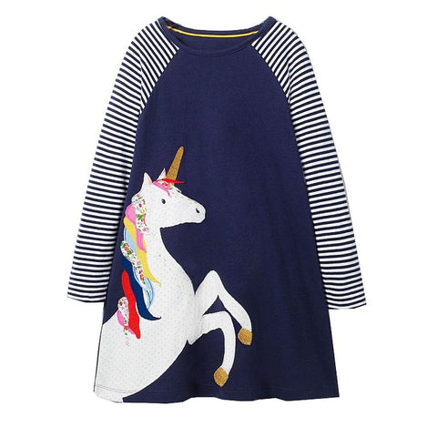 Baby Girls Unicorn Dress Long Sleeve Children Princess Dress Animal Applique Christmas Costume for Kids Dresses Girl Clothes