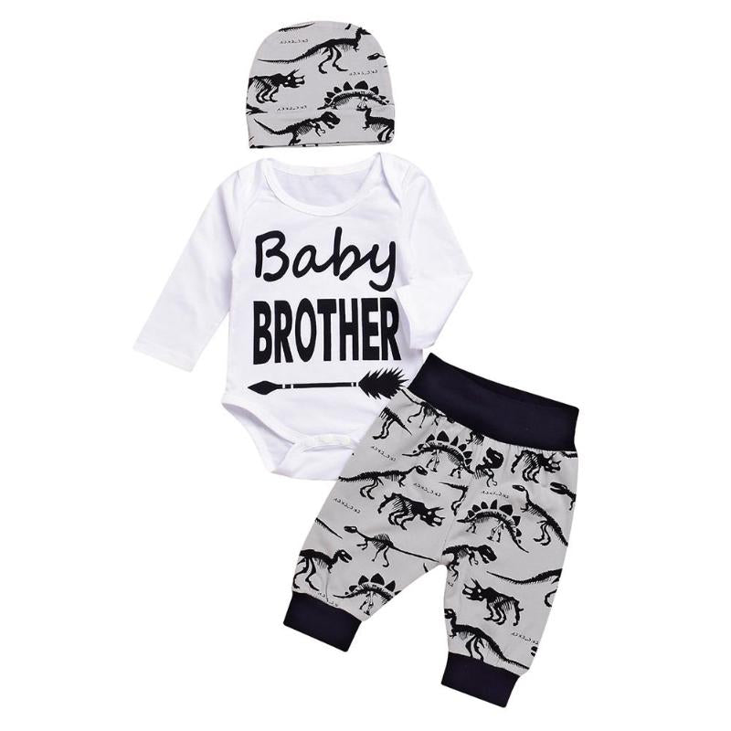 3PCS Toddler Letter Print Romper + Pants + Hat Outfit Set