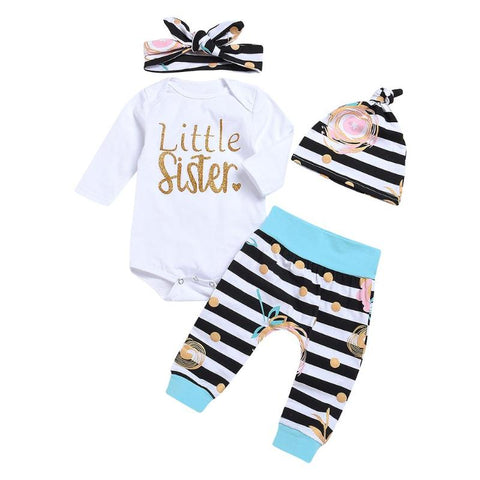 4pcs/Set Newborn Baby Clothes Set Girls Cute White Long Sleeve O-neck Leeter Print Romper + Pants + Hat + Headband Outfits Suit