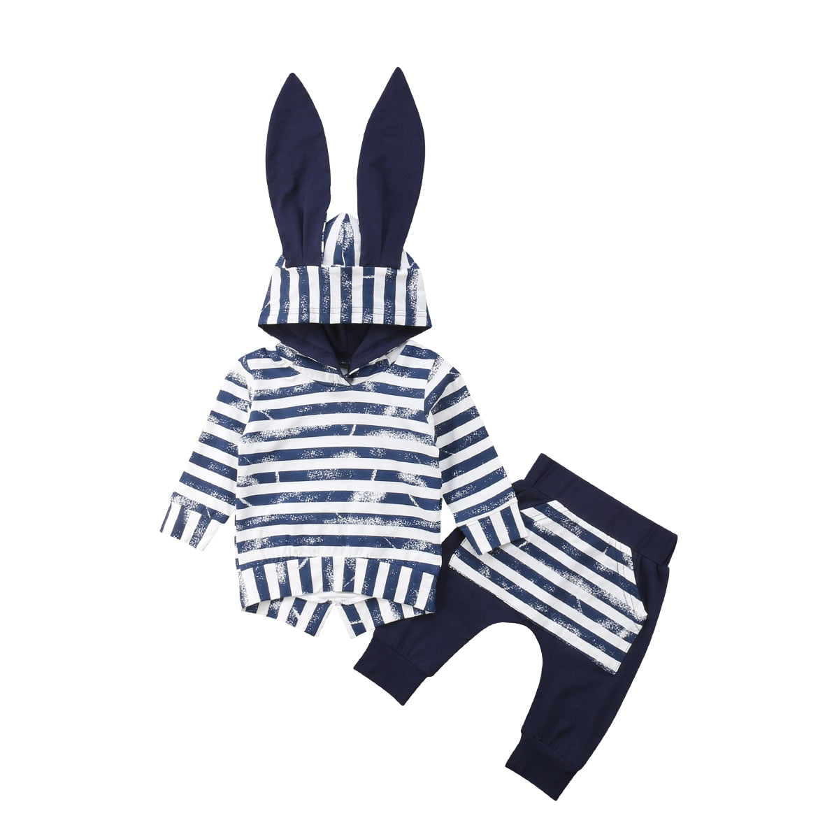 Kids Bunny Ears Top Hooded T-shirt + Pant Outfit Set