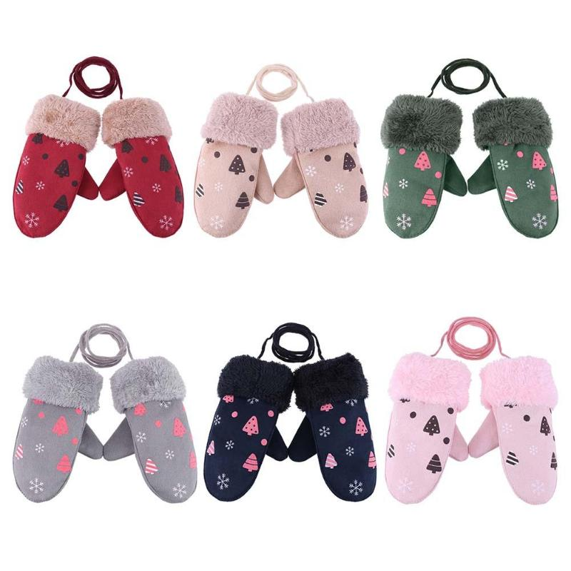 Cute Children Boys Girls Winter Warm Cartoon Tree Snowflake Print Gloves