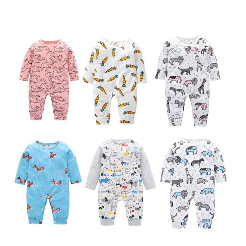Newborn Baby Cartoon Animal Printed Romper