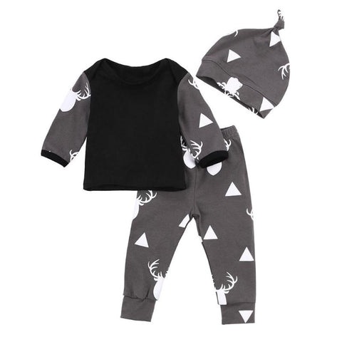 3 Pcs/Set Newborn Baby Christmas Clothes Set Baby Soft Fashion Deer Print Autumn T-shirt Pants Hat Suit Set Children Clothing