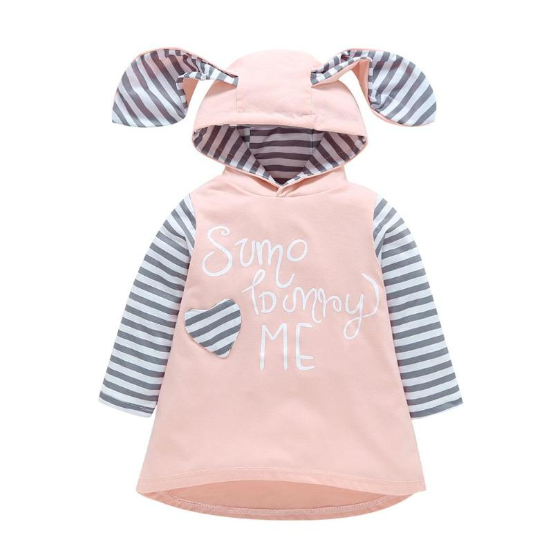 Baby Girls Stripe Pattern Long Sleeve Rabbit Ear Hoodie Sweatshirt