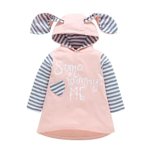 Girls Stripe Dress Toddler Kids Baby Long Sleeve Cartoon Party Cute Clothes