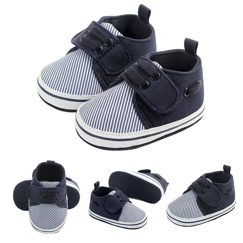 Newborn Baby Boy Striped Pattern Soft Shoes