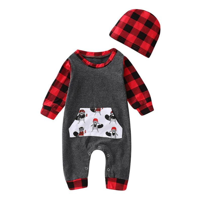 Lumber Plaid Winter Onesie + Beanie